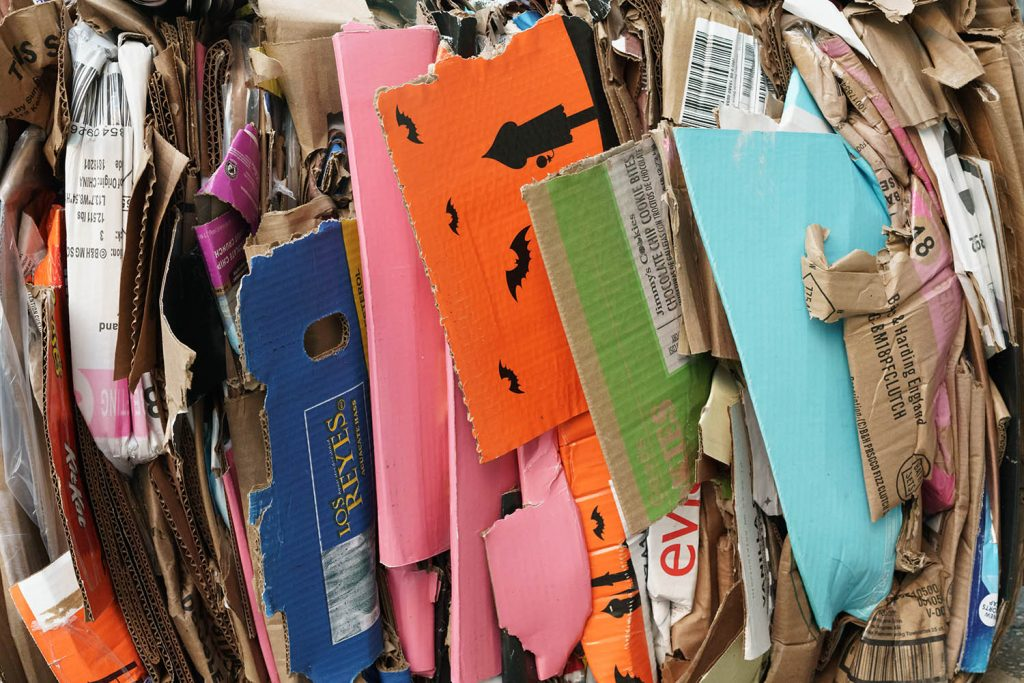 Cardboard recycling gathered up, waste management