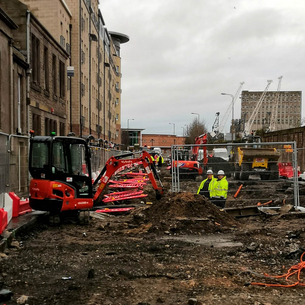 Building work on city road in the UK