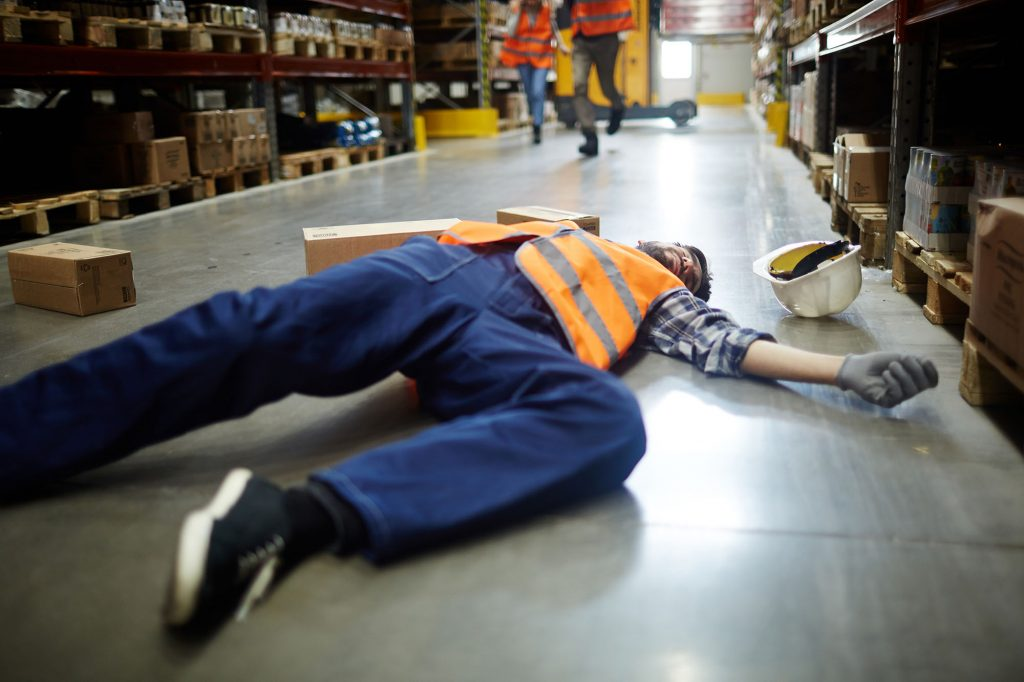 Slipping, tripping and falling on same level at work accident