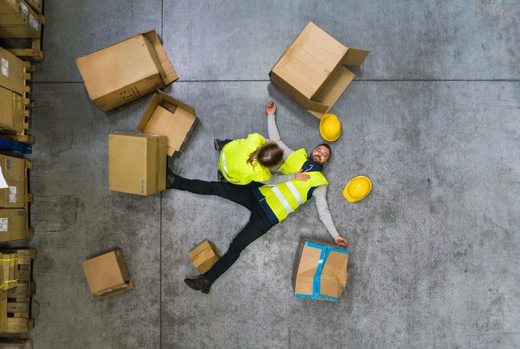 Personal injury from being stuck by moving objects falling, flying or collapsing at work