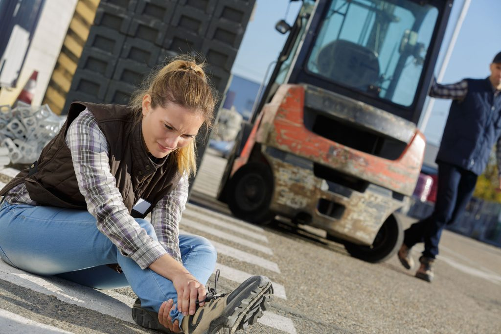 Accidents at work involving moving vehicles like cars and forklift trucks